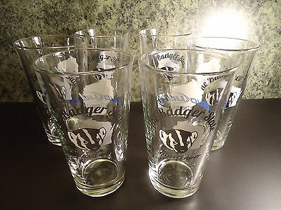 6 Bud Light Badger State Wisconsin Pint Beer Glasses Packer Fans Green Bay