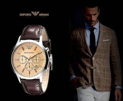 special for shoe get new incredible prices AUTHENTIC EMPORIO ARMANI AR2433 Chronograph Brown Leather ...