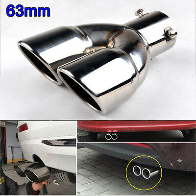 63mm Universal Stainless Steel Chrome Twin Exhaust Tail Rear Pipe Muffler Tip