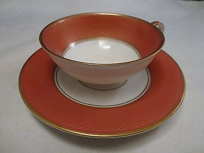 H & Co. Bavaria Demitasse Espresso Cup And Saucer, White RUST GOLD  Selb Bavaria