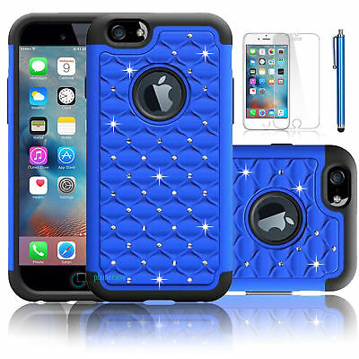 Bling Crystal Heavy Duty Rubber Blue Case Cover For Iphone 6 Plus {eu128