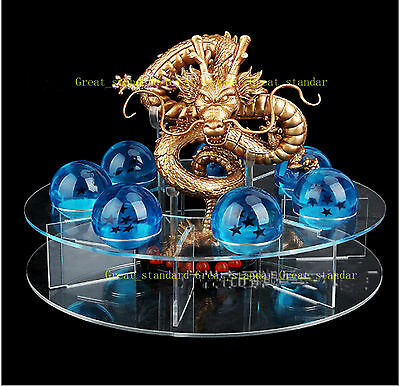 JP Anime Crystal Dragon Ball Z Stars (Blue) & Dragon Shenlong (Golden) & Shelf