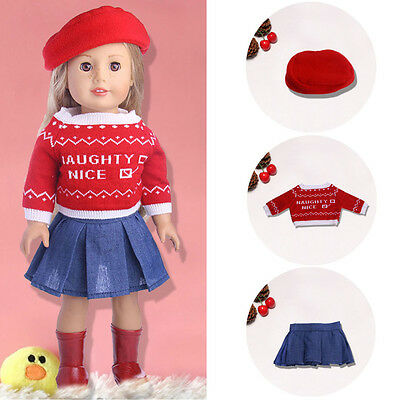 1 set Doll Clothes Handmade hats + sweaters + skirts For18 inch Doll toy Gift
