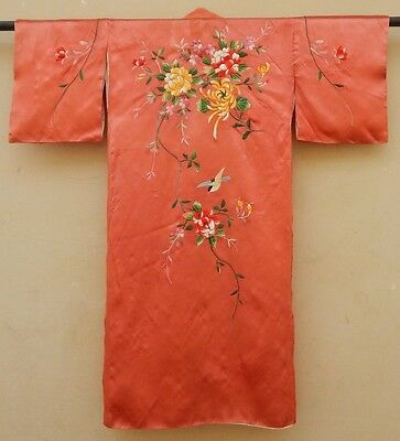 Antique Silk Oriental Embroidery Chinese Kimono Fabric 1920 Fashion Craft (X329)