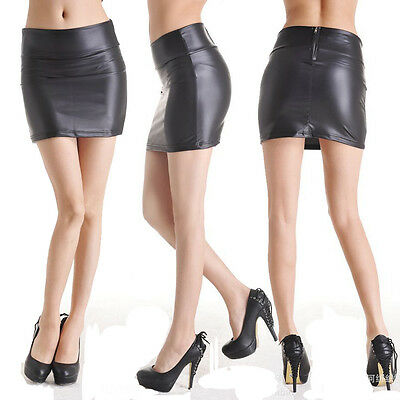 Röcke Minirock SeXy Elegante Rock in Latex Leder Lack Optik Sommer schlank Rock