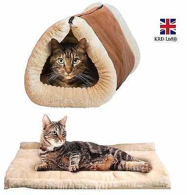 2 in 1 SELF HEATING TUNNEL PET BED Cat Dog Puppy Thermal Warm Soft Fleece Mat UK