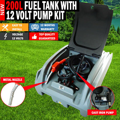 NEW Xtreme 200 Litre Diesel Fuel Tank With 12 -70lpm Pump Kit Lockable Lid