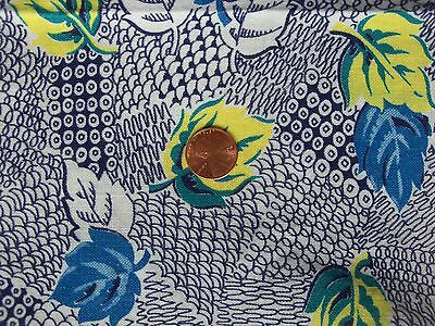 Navy DOODLES TEAL Blue YELLOW LEAVES Zigzag Circles  feedsack VTG cotton fabric