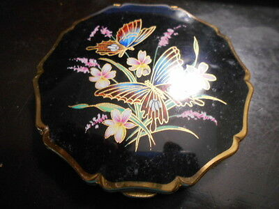 Vintage STRATTON enamel POWDER COMPACT black&butterflies&flowers made in England