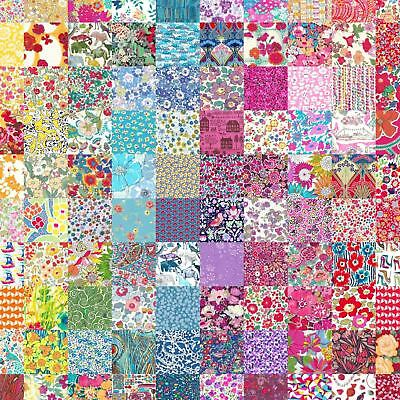 """50 different Liberty Lawn 2.5"""" Patchwork Charm Squares - 'LUCKY DIP' - Set 101"""