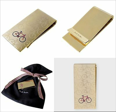 New PAUL SMITH Money Clip Branded BIKE Gold Metal Cash Holder Clips + Gift Bag