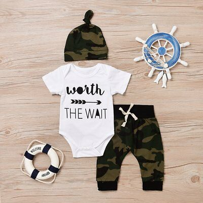 3PCS Set Newborn Baby Girl Boy Tops Romper +Long Pants Hat Outfits Clothes
