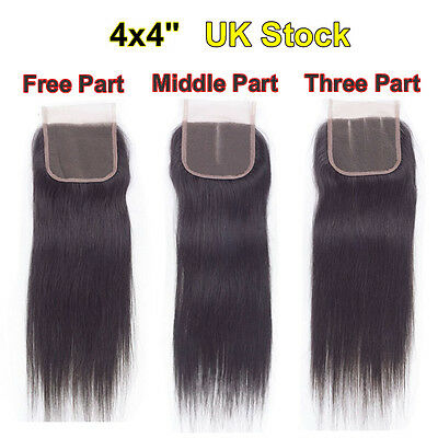 "Hair Parting Top Closure Brazilian Virgin Remy 7A Human Hair Swiss Lace 4x4"" UK"