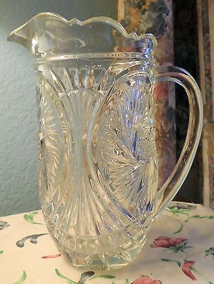 Vintage Early American Pressed Glass Starburst Design Water/milk Pitcher