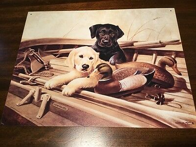 Almost Ready Lab Labrador Pups Dog  Duck Hunting Tin Metal Sign