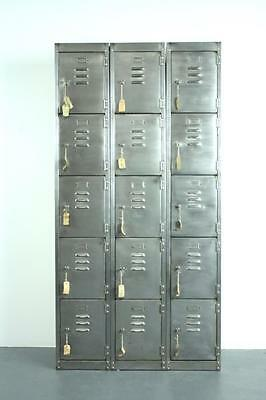 VINTAGE INDUSTRIAL STRIPPED METAL 12 COMPARTMENT CABINET CHEST LOCKER #2006a