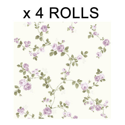 Cream Lilac Floral Wallpaper Bouquet Rose Flower Heritage Bedroom Heavyweight