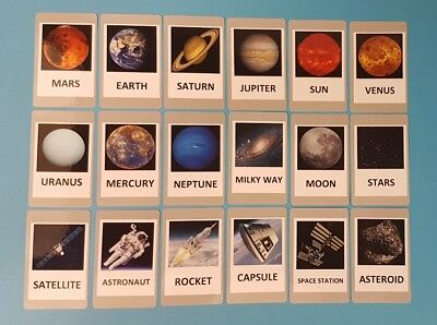Space & Solar System Flash Cards Set - Picture Flashcards - Planets