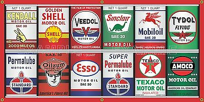 Oil Can Collection Gas Station Display Mural Banner Sign Garage Art Sign 2' X 4'