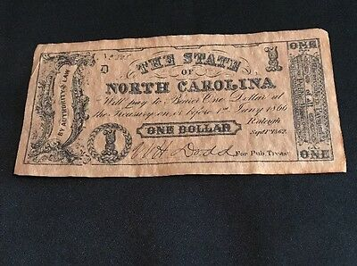 Sept,1,1862 The State of North Carolina, Raleigh One Dollar Note No. 808