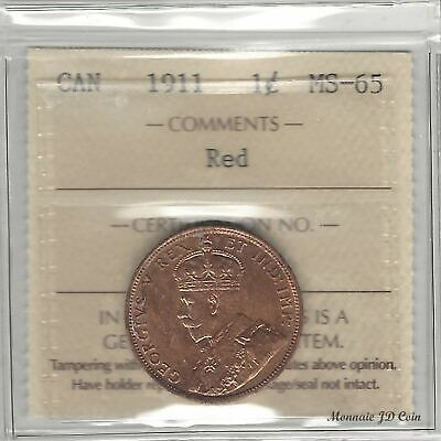 1911  Canada 1 cent Large Penny Certified By ICCS MS-65 Red  (JQ112)