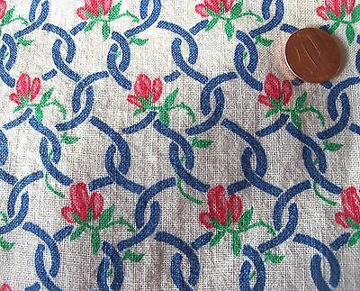 Red SWEET PEA green VINES Blue chain Fence floral feedsack VTG cotton fabric pc