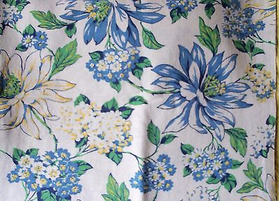 BLUE YELLOW Hydrangea floral Forget- Me-Nots VTG feedsack quilt coton fabric pc