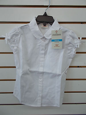 Girls Dockers Uniform White Button Down Short Sleeved Shirt Size 5 - 6X