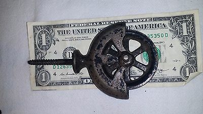 "Antique Cast Iron 2"" Wheel 4 1/2"" Pulley with screw"