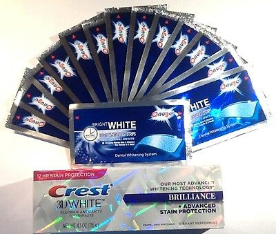 Superior Onuge Teeth Whitening White Strips + Crest3D Teeth Whitening Toothpaste