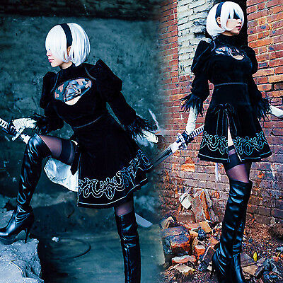 NieR Automata 2B YoRHa No. 2 Type B Cosplay Kostüm Outfit Kleid Suit Set