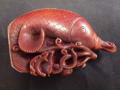 "Chinese Carved Fish Snuff Bottle    Well Done   3 1/2 "" Tall"