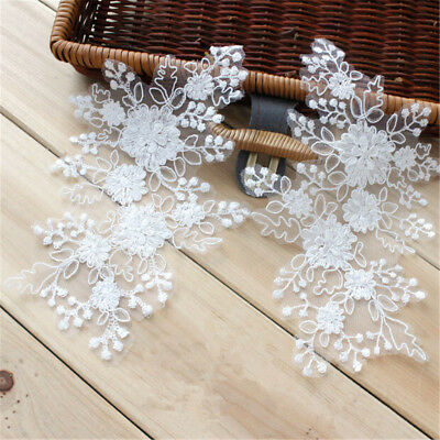 1 Pair Floral Corded Wedding Motif Bridal Lace Embroideried Lace Applique Trim