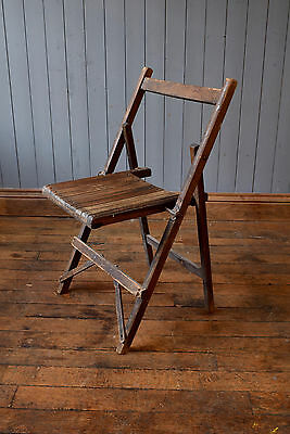 Vintage Folding Bistro Industrial Chairs Slatted Retro Chair