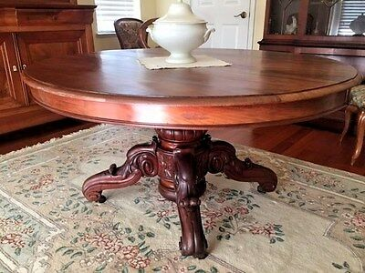 French Provincial Antique Furniture Louis Philippe Dining Table Center Pedestral