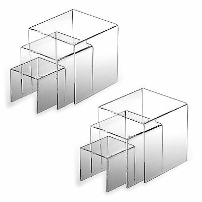 "2pk Clear Acrylic Riser 3"", 4"", 5"" Product Display Case retail Stands  Set of 3"