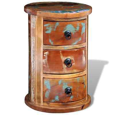 Round Bedside Table 3 Storage Drawers Reclaimed Cabinet Solid Wood Nightstand
