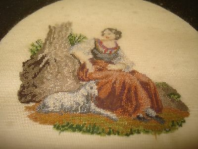 Framed England Antique 1840s Micro Needlepoint girl and lamb 1920's frame  C6