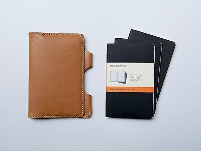 NEW Kendal & Hyde NATURAL Leather Pocket Notebook Cover w/ FREE NOTEBOOKS