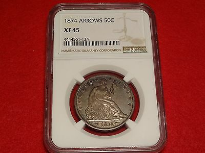 1874 Arrows Seated Liberty Half Dollar NGC XF45 A Pleasing 50C Type Coin