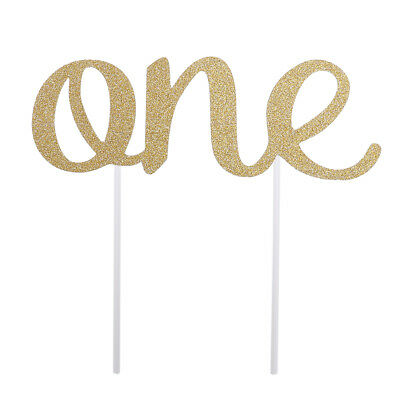 First Birthday Cake Topper Golden One Shape for Birthday Cake Decorations