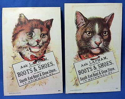 2 c 1900 Antique Lapham BOOTS & SHOES Advertising CAT Victorian Trade Card