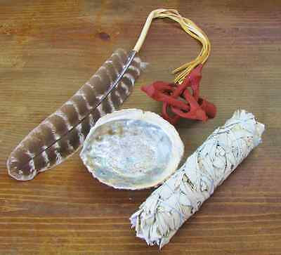 Smudge Kit w/ Large Sage, Abalone Shell, Stand & Prayer Feather   Earth Maidens