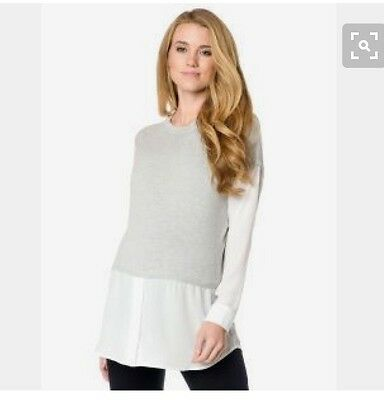 A pea in the Pod Gray Long sleeve Maternity Sweater Top Central Park West Medium