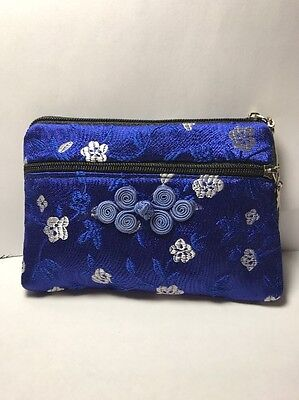 Bright Blue Silk Coin Purse Traditional Chinese Silk