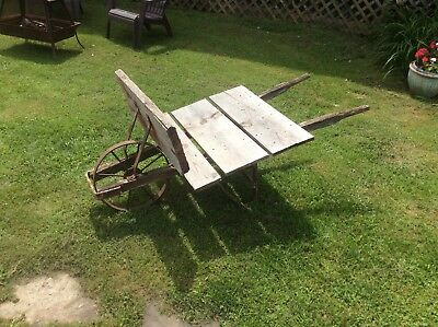 Antique Flatbed Wheelbarrow, Homemade, Iron Wheel , Garden Decor , Primitive