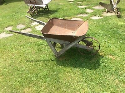Antique Wheelbarrow , Country Farm , Iron Wheel , Garden Decor , Primitive