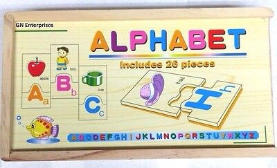 A – Z Jigsaw Alphabet Puzzle Wooden Learning Education Toy Letters - Gn