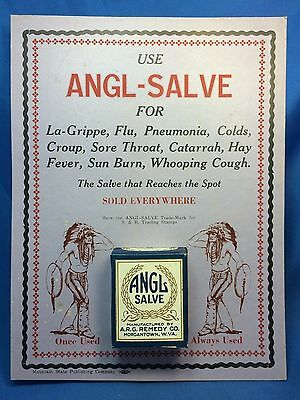Antique ANGL SALVE MEDICAL Advertising Store Sign Native American Chief