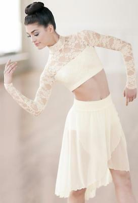 Dance Costume Medium Adult Ivory 2pc Lace Crop & Skirt Lyrical Solo Competition